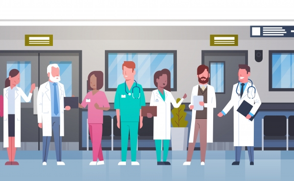 Brightly coloured cartoon hospital staff