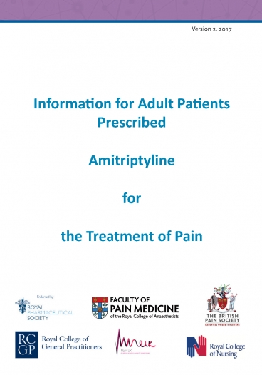 Cover image of patient information leaflet for amitriptyline 2017