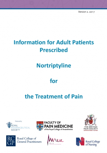 Cover image of patient information leaflet for nortriptyline